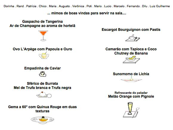 Menu com as pequenas entradas