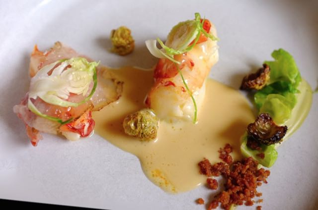 Poached Lobster with Brussel Sprouts and Guanciale