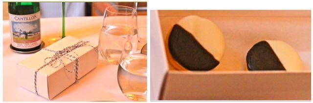 Cheddar and Apple Savory Black and White Cookie Chega essa linda caixinha com os dois cookies salgados