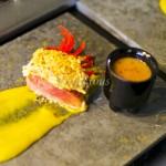 Carne de Porco em baixa temperatura com crosta de Castanha Shot com Molho de Cupuaçu Creme de Moranga com Manga