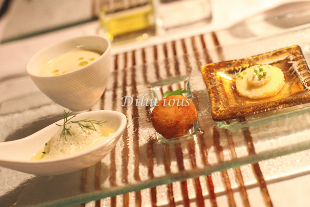 Brincando com o paladar Creme de aspargos Na colher- Brandade de bacalhau  Polenta com queijo gorgonzola Bolinho de risoto com limão siciliano