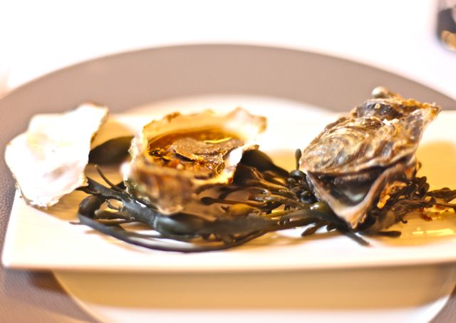 Huîtres spéciales d'Isigny, fines tranches de truffe et noisettes torréfiées