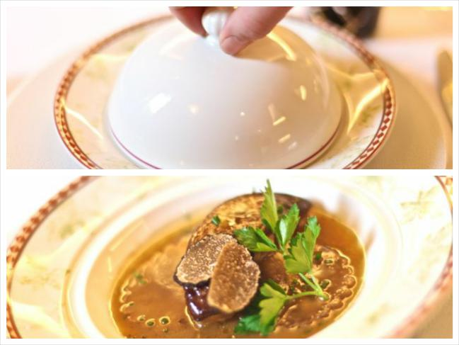 Truffe en nage de céleri liée au foie gras
