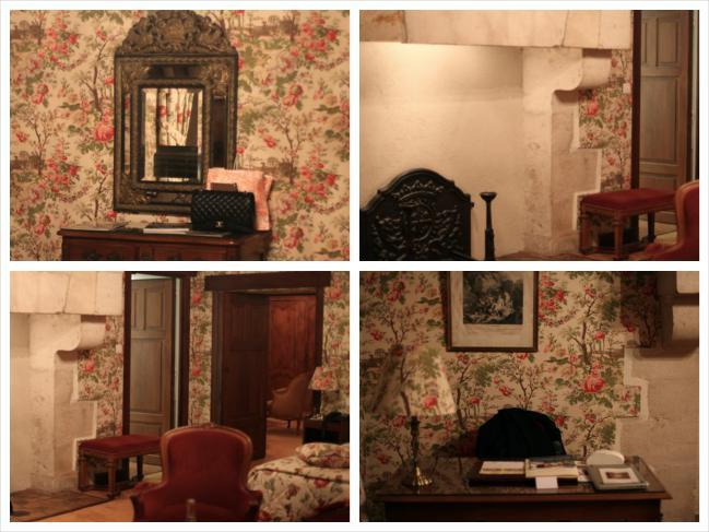 Enorme lareira, sala, muito tecido, muito vermelho...