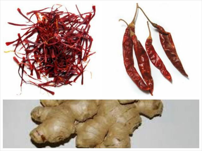 Açafrão, pimenta e gengibre