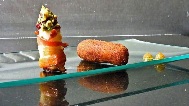 Pupunha envolto em Bacon com Pistache e Croquete de Picanha