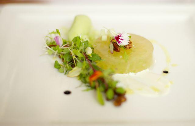 Salada Waldorf Gelatina de Maçã, Sorbet de Aipo, Nozes caramelizadas e emulsão de Gorgonzola