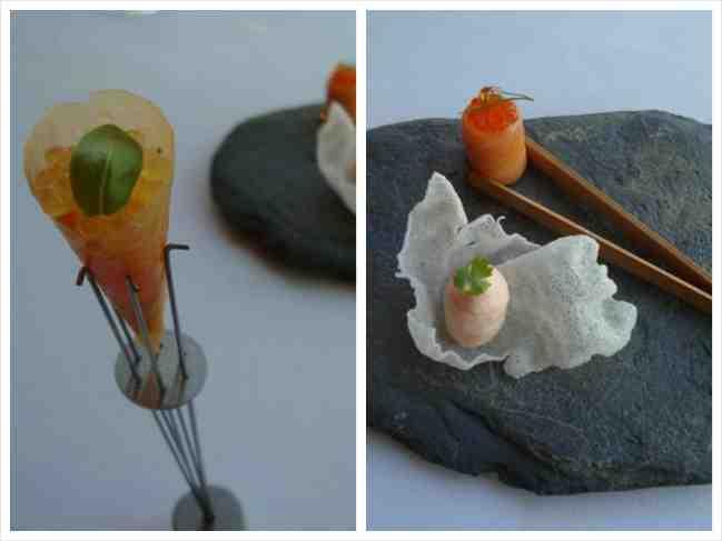 """O mandiopã de arroz com um bombonzinho de salmão e um """"maki"""" de salmão com ovas."""