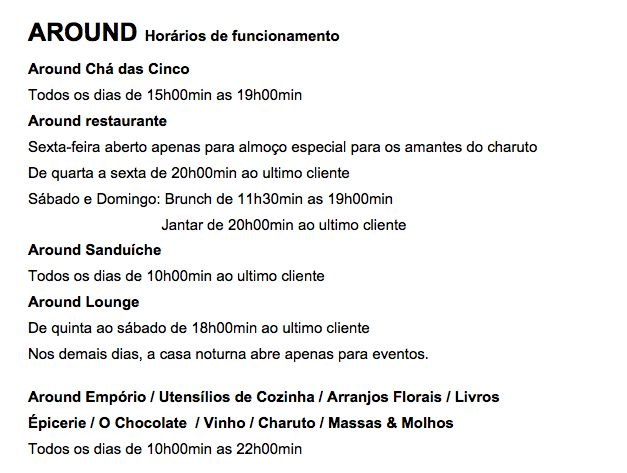 around horario