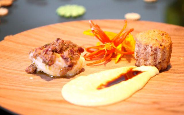 Bacalhau com Aligot Muffin salgado com Azeitona e Calabresa