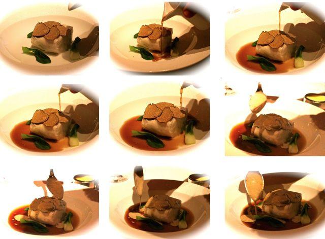 BLACK BASS Crispy Black Bass; Wood Ears and Water Chestnuts, Black Truffle Hot and Sour Pot au Feu