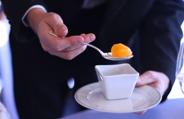 Servido com tangerinas ao natural