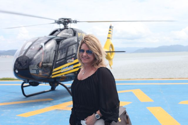 Pegamos o helicóptero em Florianópolis bem em frente ao hotel que ficamos
