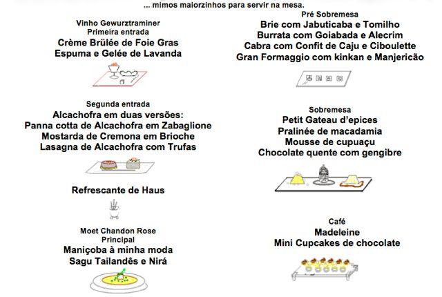 Um menu de um super almoço que fiz aqui em casa com a pré-sobremesa desenhada