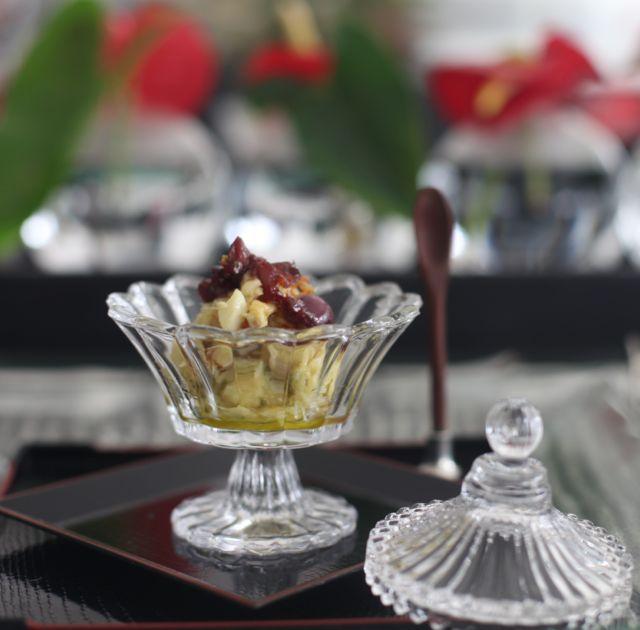 Grissini . Brandade de Bacalhau  Azeitona preta caramelada com Aceto de Amêndoas