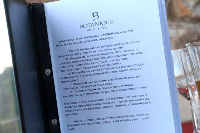 Botanique menu vinhos