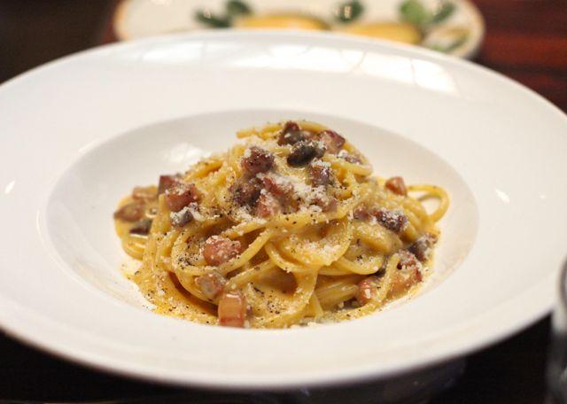 Spaghetti Carbonara com Ovo caipira