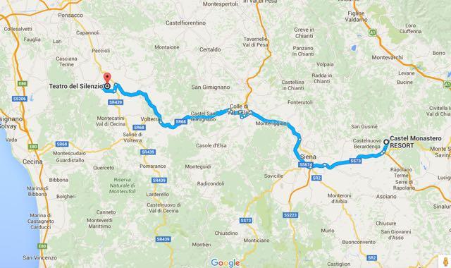 mapa castel monastero : siena : Teatro del Silenzio