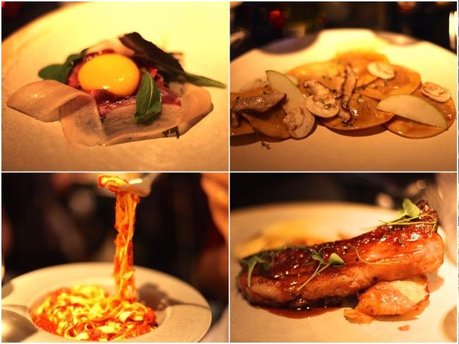 Entradas e pratos. A carne de porco estava excepcional, também foi só!